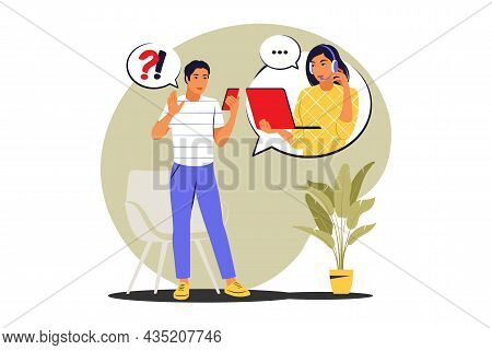 Call Center Concept. Clients Assistance, Hotline Operator. Vector Illustration. Flat