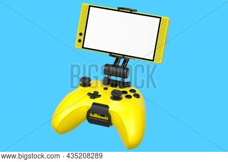 Realistic Yellow Joystick For Playing Games On Mobile Phone On Blue Background