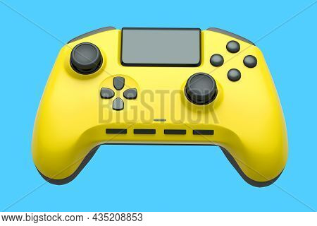 Realistic Yellow Joystick For Video Game Controller On Blue Background