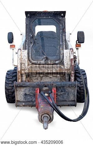 Skid Steer Loader With Jackhammer, Small Diesel Tractor On White Background