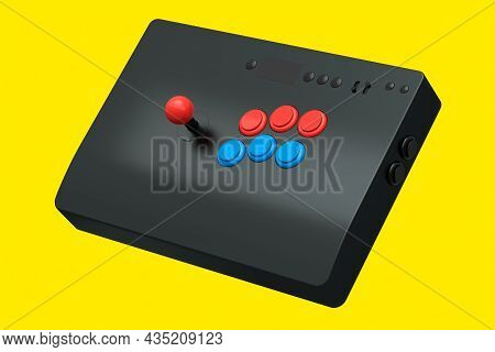 Vintage Arcade Stick With Joystick And Tournament-grade Buttons On Yellow