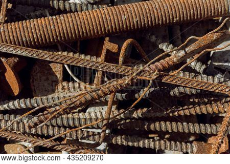 Rusty Steel Rods. Rusty Metal Background. Steel Rods For Concreting