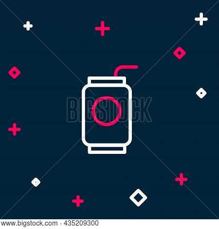 Line Soda Can With Drinking Straw Icon Isolated On Blue Background. Colorful Outline Concept. Vector