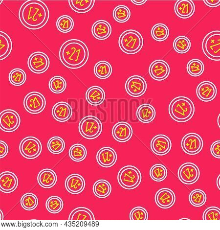 Line Alcohol 21 Plus Icon Isolated Seamless Pattern On Red Background. Prohibiting Alcohol Beverages