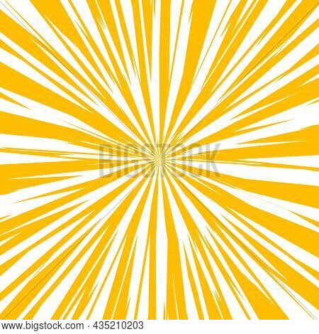 Pop Art Radial Colorful Comics Book Magazine Cover. Striped Yellow And White Digital Background. Car
