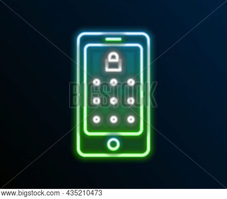 Glowing Neon Line Mobile Phone And Graphic Password Protection Icon Isolated On Black Background. Se