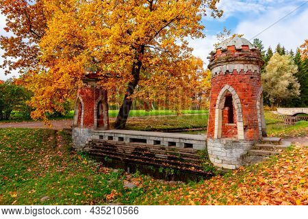 Red (turkish) Cascade In Autumn In Catherine Park, Pushkin (tsarskoe Selo), Saint Petersburg, Russia