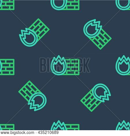 Line Firewall, Security Wall Icon Isolated Seamless Pattern On Blue Background. Vector