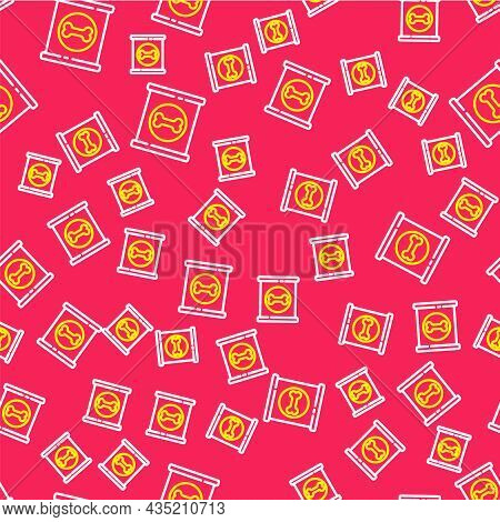 Line Canned Food Icon Isolated Seamless Pattern On Red Background. Food For Animals. Pet Food Can. D