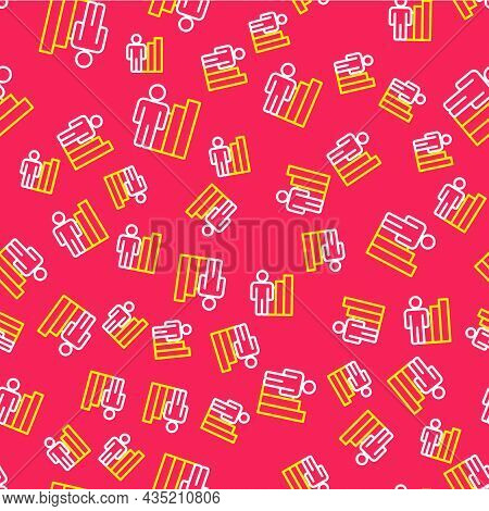 Line Productive Human Icon Isolated Seamless Pattern On Red Background. Idea Work, Success, Producti