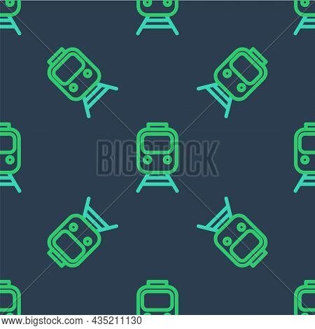 Line Train And Railway Icon Isolated Seamless Pattern On Blue Background. Public Transportation Symb