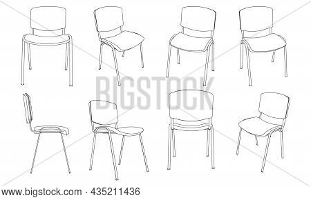 Vector Outline Illustration Of Office Visitor Chair, Different Views Set