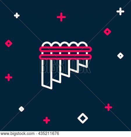 Line Pan Flute Icon Isolated On Blue Background. Traditional Peruvian Musical Instrument. Zampona. F
