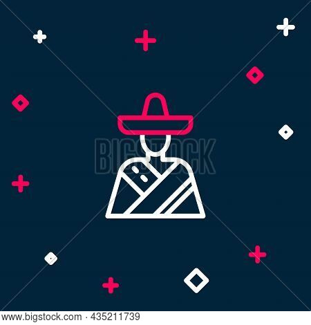 Line Mexican Man Wearing Sombrero Icon Isolated On Blue Background. Hispanic Man With A Mustache. Co