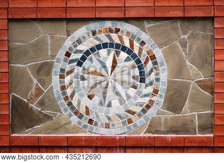 Stone Mosaic In The Exterior Decoration Of The Facade, Tiles Made Of Decorative Natural Stone In The