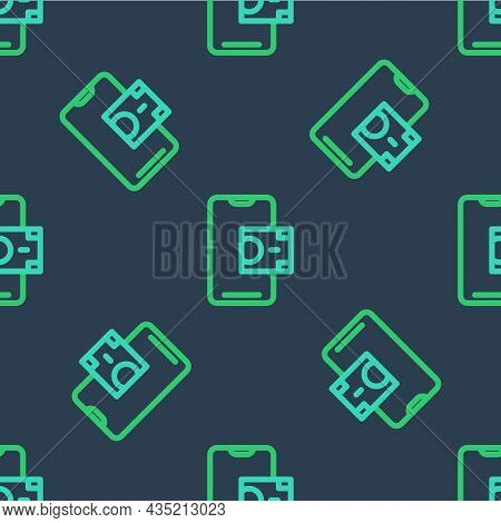 Line Mobile Banking Icon Isolated Seamless Pattern On Blue Background. Transfer Money Through Mobile