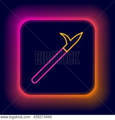 Glowing Neon Line Metal Pike Pole With Wooden Handle Icon Isolated On Black Background. Spear, Picka