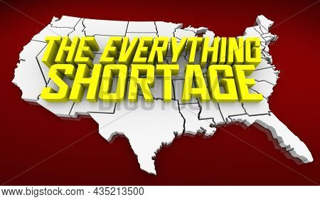 The Everything Shortage Low Supply High Demand Goods Inventory 3d Illustration