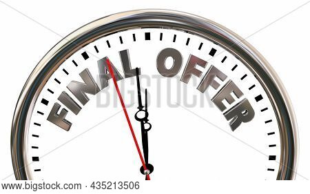 Final Offer Clock Deadline Time Running Out Last Chance 3d Animation