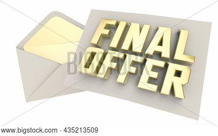 Final Offer Letter Envelope Sale Negotiation 3d Animation