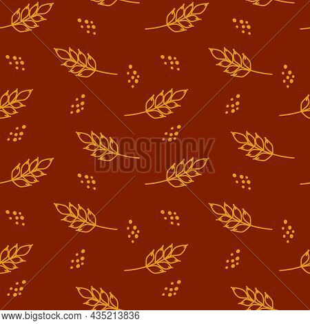 Wheat Seamless Pattern. Vector Seamless Pattern With Silhouettes Of Wheat Ears. Whole Grain, Natural