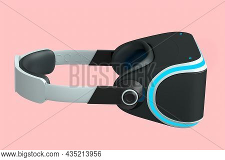 Virtual White Reality Glasses Isolated On Pink Background. 3D Rendering