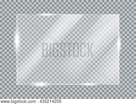 Realistic Glass Plate Concept. Design Element With Shiny Rectangular Glass For Posters And Infograph