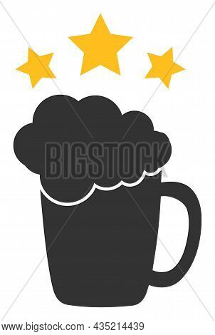 Beer Mug Rating Icon With Flat Style. Isolated Vector Beer Mug Rating Icon Image, Simple Style.