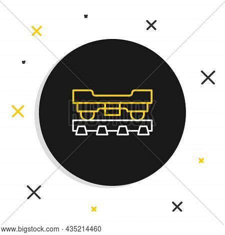 Line Cargo Train Wagon Icon Isolated On White Background. Freight Car. Railroad Transportation. Colo