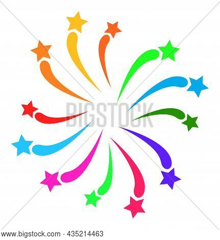 Fireworks Salute Icon With Flat Style. Isolated Vector Fireworks Salute Icon Illustrations, Simple S