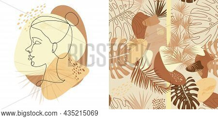 Set Of Portrait Of A Girl In One Line And Seamless Pattern With Natural Shapes And Natural Shades Wi
