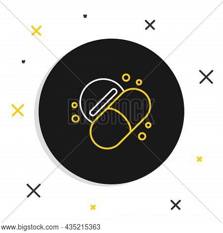 Line Medicine Pill Or Tablet Icon Isolated On White Background. Capsule Pill And Drug Sign. Pharmacy