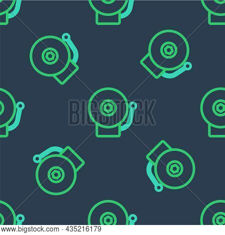 Line Ringing Alarm Bell Icon Isolated Seamless Pattern On Blue Background. Alarm Symbol, Service Bel