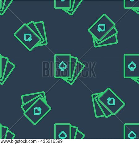 Line Deck Of Playing Cards Icon Isolated Seamless Pattern On Blue Background. Casino Gambling. Vecto