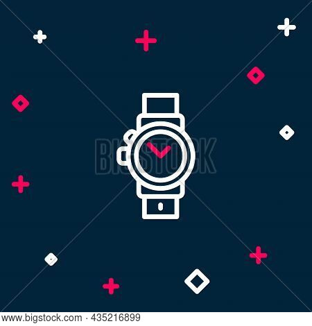 Line Wrist Watch Icon Isolated On Blue Background. Wristwatch Icon. Colorful Outline Concept. Vector