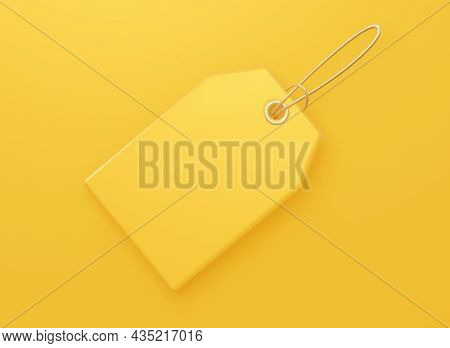 Yellow Price Blank Tag. For Sales, Product Discounts. 3d Rendering