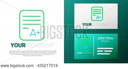 Line Exam Sheet With A Plus Grade Icon Isolated On White Background. Test Paper, Exam, Or Survey Con