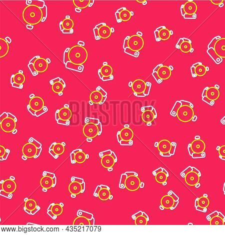 Line Ringing Alarm Bell Icon Isolated Seamless Pattern On Red Background. Alarm Symbol, Service Bell