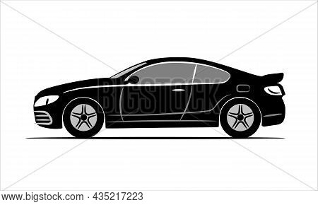 Modern Car Coupe Flat Icon. Flat Illustration Isolated On A White Background. Vehicle Icons View Fro