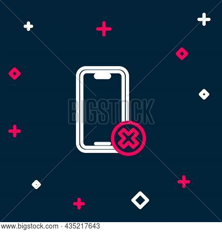 Line No Cell Phone Icon Isolated On Blue Background. No Talking And Calling Sign. Cell Prohibition.