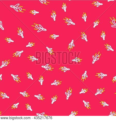 Line Plane Icon Isolated Seamless Pattern On Red Background. Flying Airplane Icon. Airliner Sign. Ve