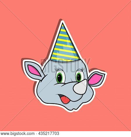 Animal Face Sticker With Rhinoceros Wearing Party Hat. Character Design. Vector And Illustration