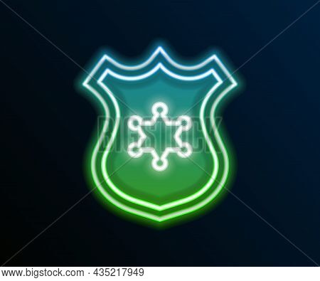 Glowing Neon Line Police Badge Icon Isolated On Black Background. Sheriff Badge Sign. Colorful Outli