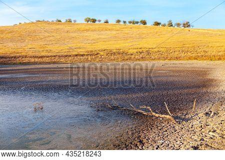 Desert Lake . Arid Climate Landscape With Drought Lake