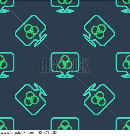 Line Rgb And Cmyk Color Mixing Icon Isolated Seamless Pattern On Blue Background. Vector