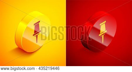 Isometric Push Pin Icon Isolated On Orange And Red Background. Thumbtacks Sign. Circle Button. Vecto
