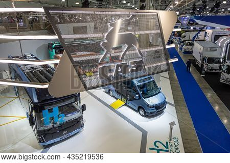 Hydrogen, Electric And Diesel Buses At The Gaz Stand At The International Commercial Vehicle Show Co