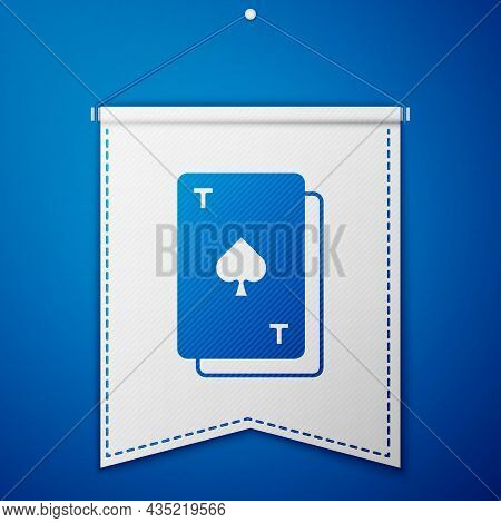 Blue Playing Card With Spades Symbol Icon Isolated On Blue Background. Casino Gambling. White Pennan