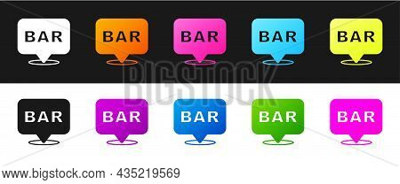 Set Alcohol Or Beer Bar Location Icon Isolated On Black And White Background. Symbol Of Drinking, Pu