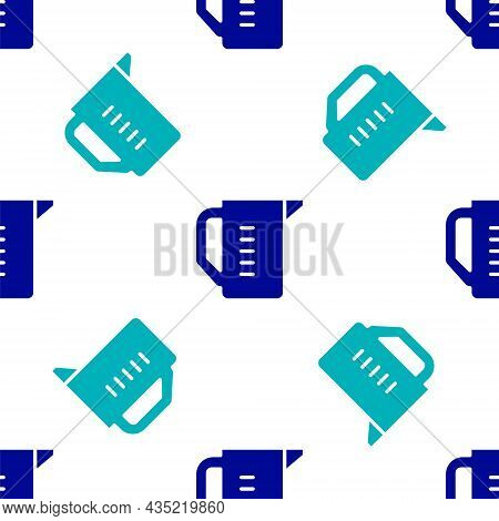 Blue Measuring Cup To Measure Dry And Liquid Food Icon Isolated Seamless Pattern On White Background